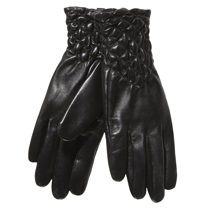 Ladies' leather gloves with quilting, black , 904-6113 - 13