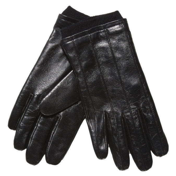 Leather gloves with knit, black , 904-6117 - 13