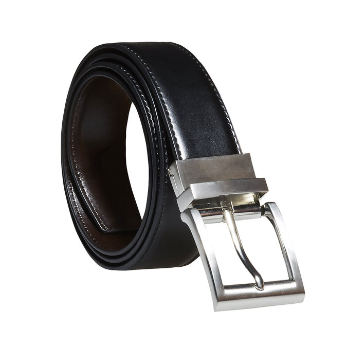 Men's Leather Belt, black , 954-6122 - 13