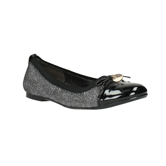 Girl's silver ballerinas with shiny toe cap mini-b, gray , 329-2166 - 13