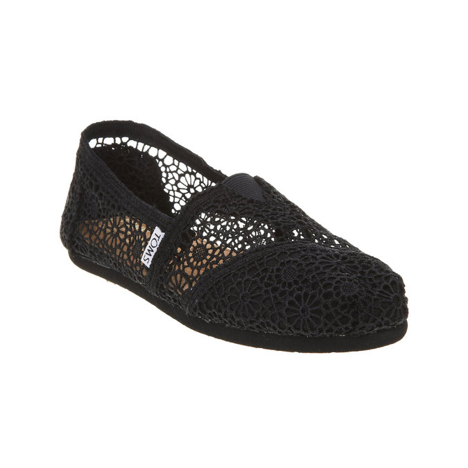 Lace slip-ons toms, black , 519-6100 - 13