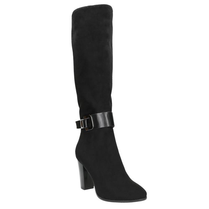 Ladies' heeled high boots bata, black , 699-6631 - 13