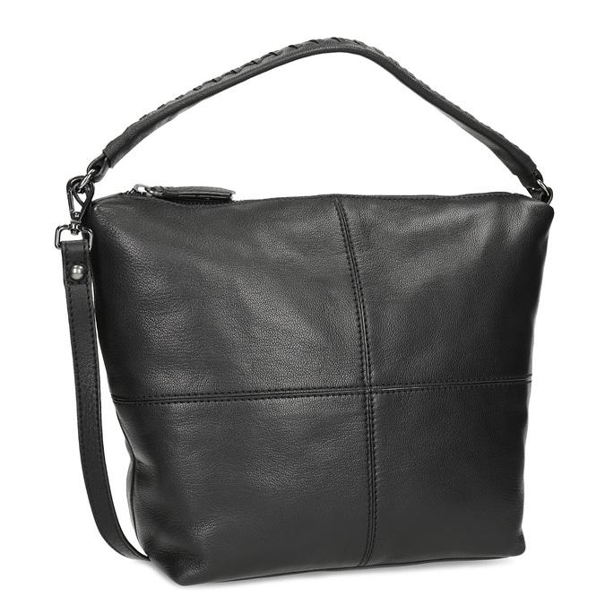 Leather handbag with a detachable strap, black , 964-6233 - 13