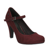 Burgundy pumps with a strap across the instep bata, red , 729-5601 - 13