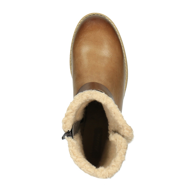 Leather winter boots with fur bata, brown , 594-4609 - 19