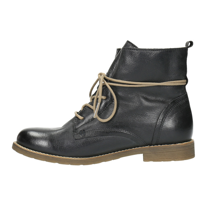 Leather insulated high ankle boots bata, black , 594-6610 - 26