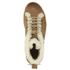 Leather ankle-cut sneakers with fur, brown , 596-8627 - 17