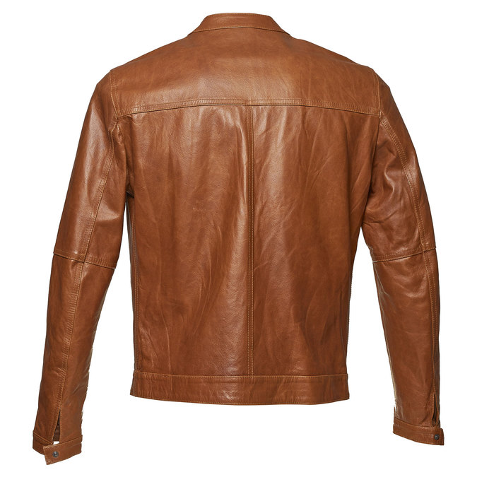 Men's leather jacket with trendy quilting bata, brown , 974-3142 - 26