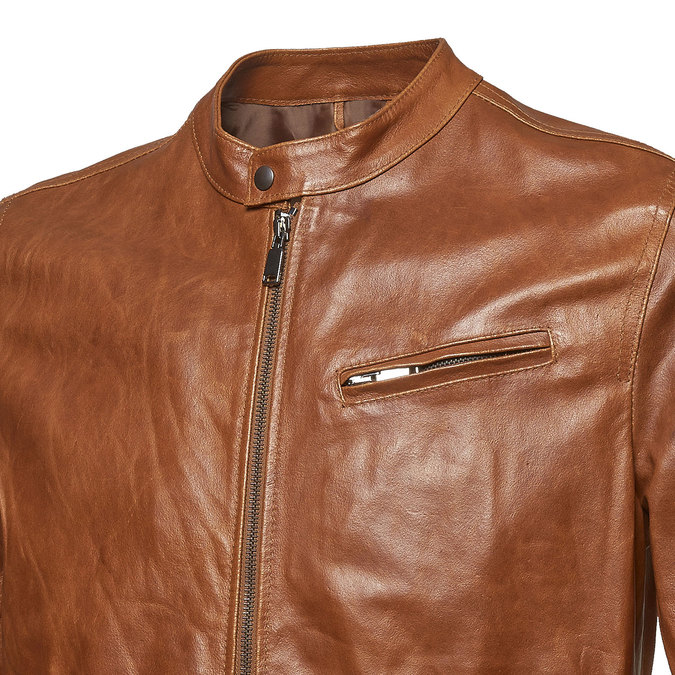 Men's leather jacket with trendy quilting, brown , 974-3142 - 16