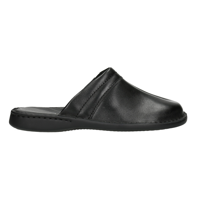 Men's leather slippers, black , 874-6600 - 15
