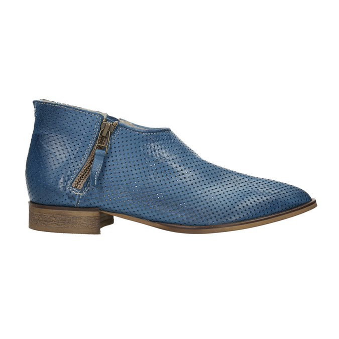 Leather high ankle boots with perforations bata, blue , 596-9647 - 15