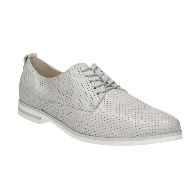 Leather shoes with perforations bata, gray , 526-1626 - 13