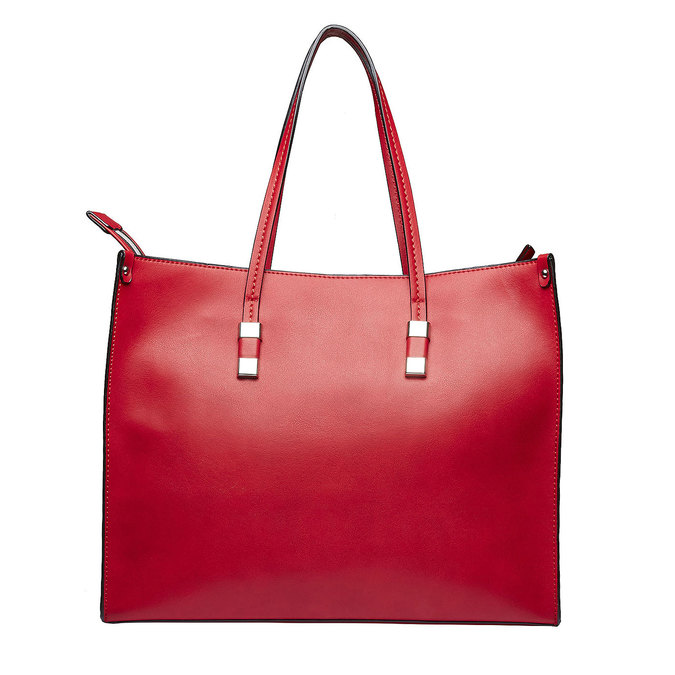 Square handbag in the Shopper style bata, red , 961-5736 - 26