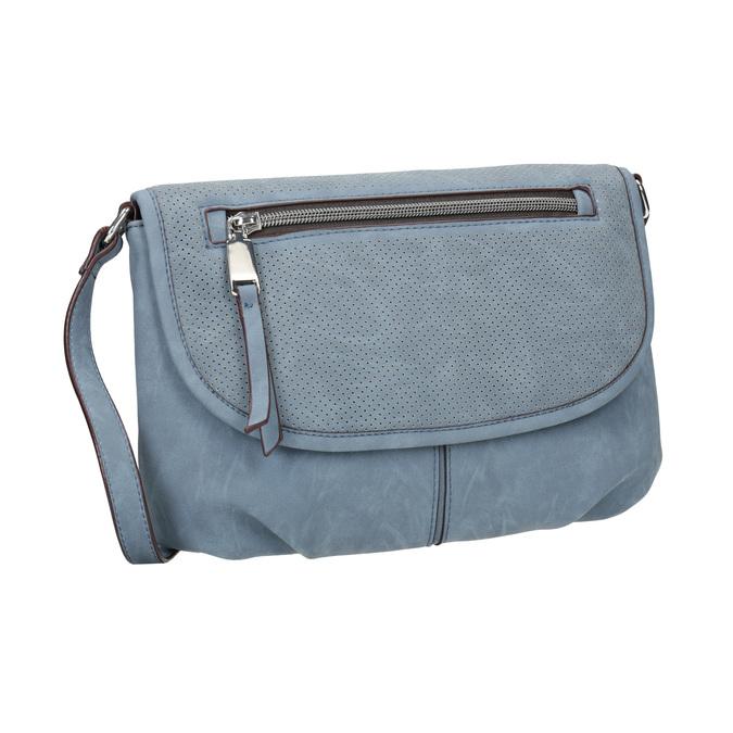 Crossbody handbag with perforated flap bata, blue , 961-9709 - 13