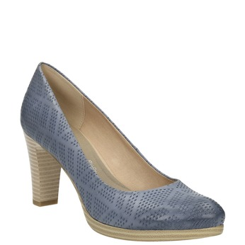 Ladies´ leather pumps with perforations pillow-padding, blue , 726-9642 - 13