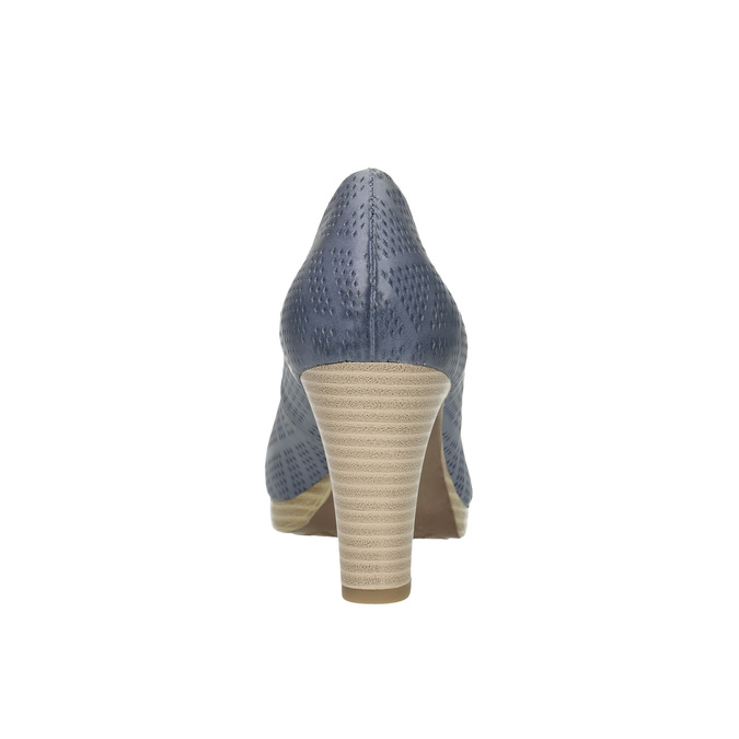 Ladies´ leather pumps with perforations pillow-padding, blue , 726-9642 - 17