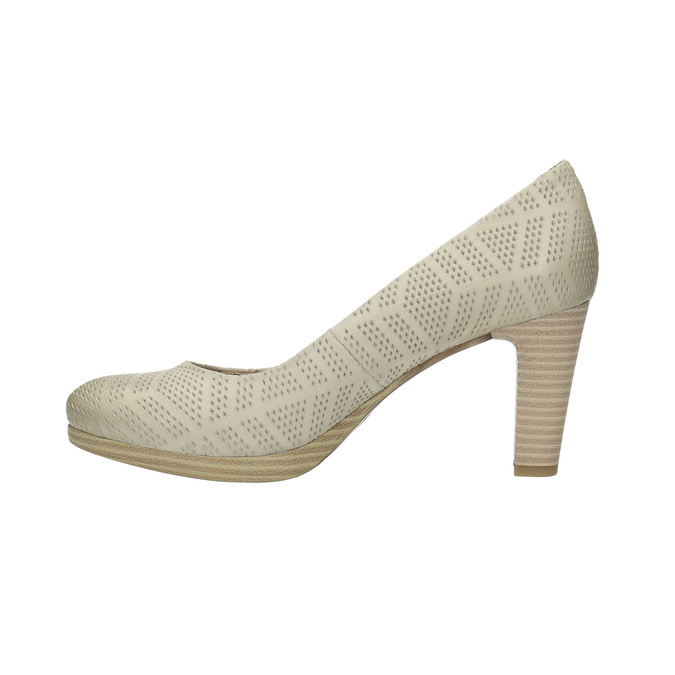 Leather court shoes with perforations, beige , 726-1642 - 26
