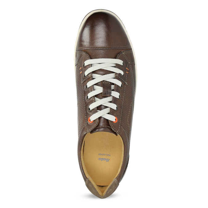 Men's leather sneakers bata, brown , 846-4617 - 17