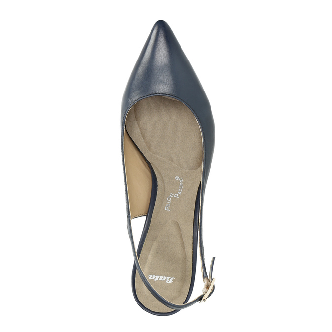Ladies' leather Sling-back pumps pillow-padding, blue , 624-9638 - 19