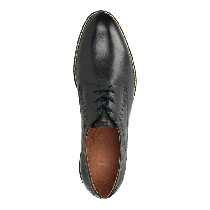 Leather shoes with striped sole bata, black , 826-6790 - 19