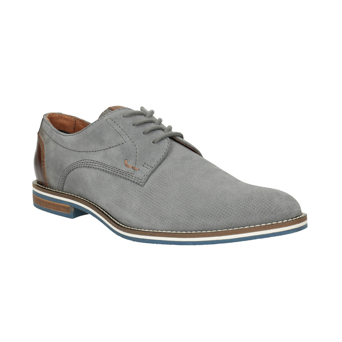 Casual grey leather shoes bata, gray , 823-2600 - 13