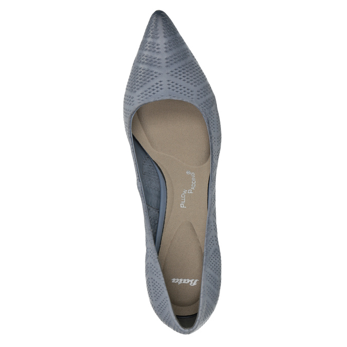 Leather court shoes with perforations pillow-padding, blue , 626-9636 - 19