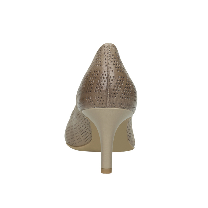 Ladies´ pumps with perforations pillow-padding, beige , 626-2636 - 17