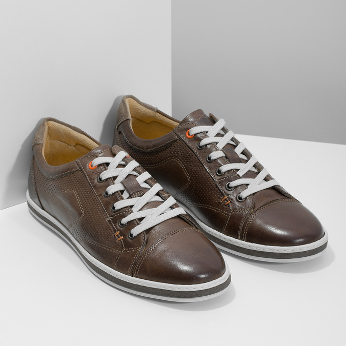Men's leather sneakers bata, brown , 846-4617 - 26