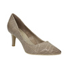 Ladies´ pumps with perforations pillow-padding, beige , 626-2636 - 13