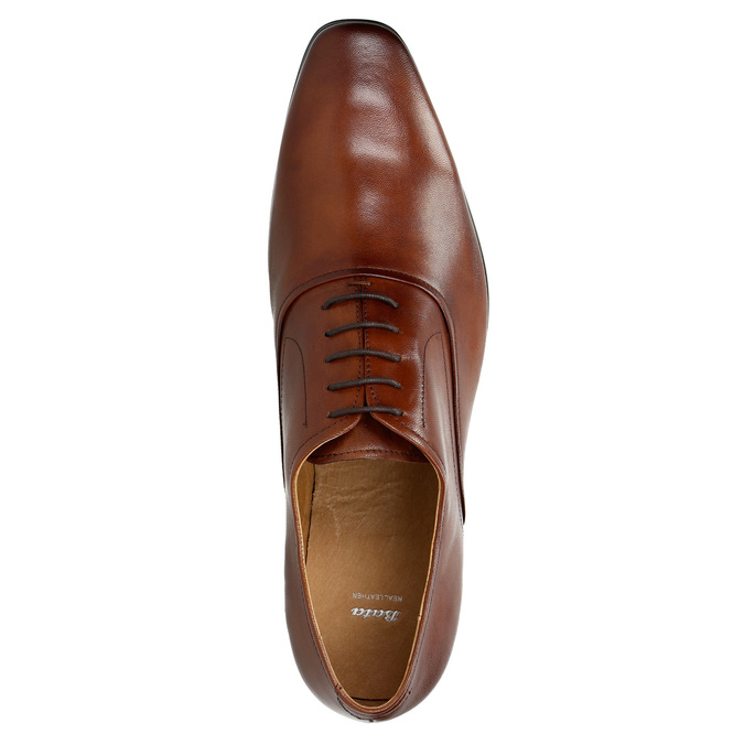 Brown leather Oxford shoes bata, brown , 826-3819 - 19