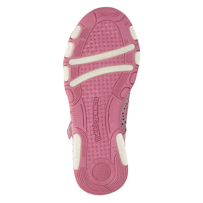 Girls' pink ballet pumps with strap across instep bubblegummer, pink , 321-5603 - 26