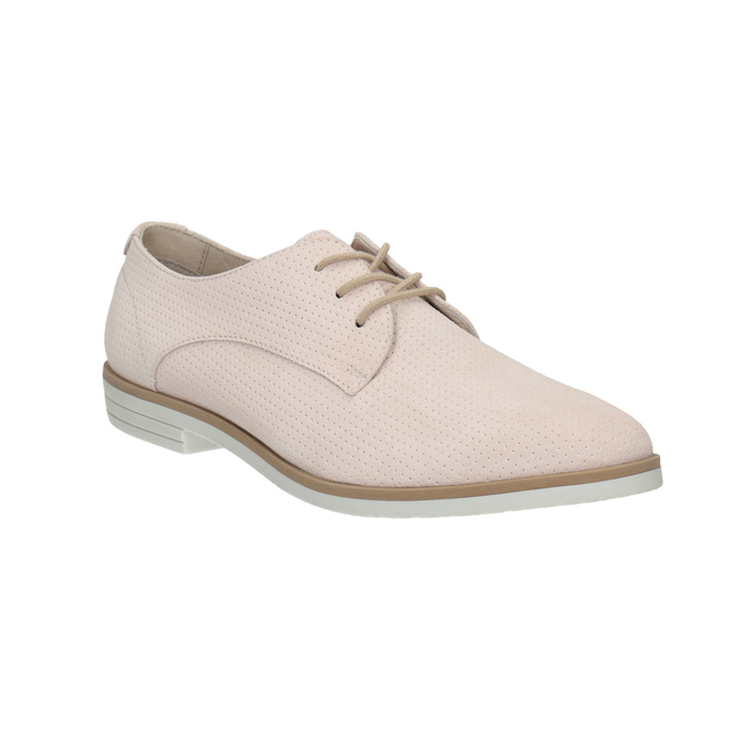 Leather shoes with perforations bata, pink , 523-5600 - 13