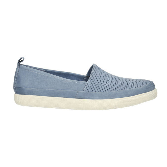 Ladies' leather shoes with perforations bata, blue , 516-9601 - 15