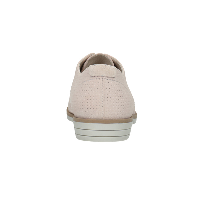 Leather shoes with perforations bata, pink , 523-5600 - 17