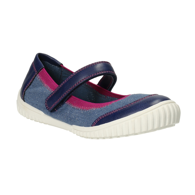 Ballerinas with an instep strap mini-b, blue , 329-9605 - 13