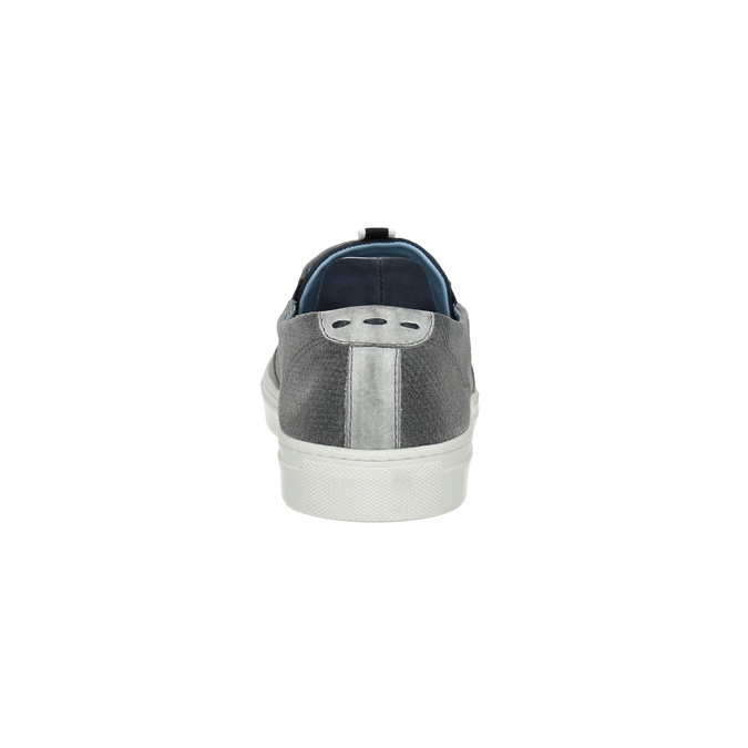 Grey leather slip-ons bata, gray , 833-2600 - 17