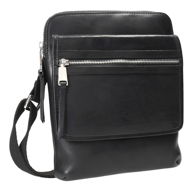 Men's leather crossbody bag bata, black , 964-6237 - 13