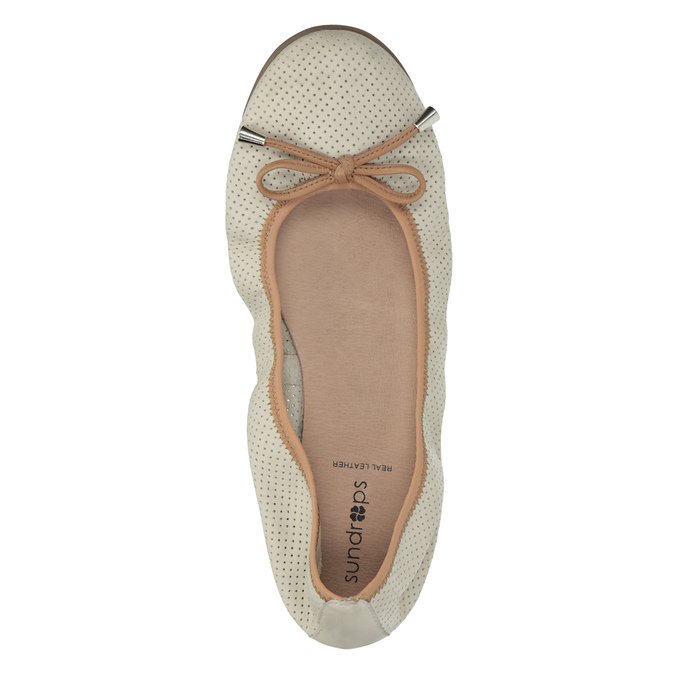 Leather ballet pumps with flexible topline bata, beige , 526-8617 - 19