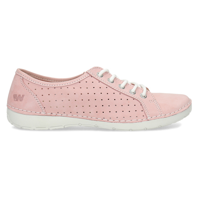 Pink leather low shoes weinbrenner, pink , 546-5602 - 19