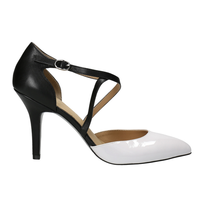 Leather pumps with straps across the instep insolia, white , 728-1641 - 15