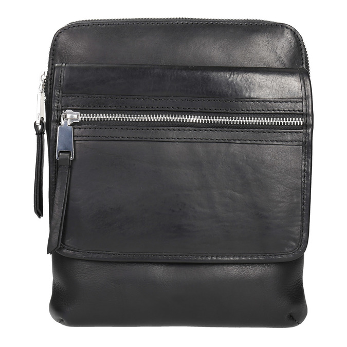 Men's leather crossbody bag bata, black , 964-6237 - 19
