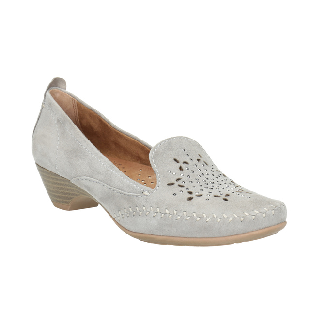 Ladies' leather H-width moccasins bata, gray , 523-2603 - 13