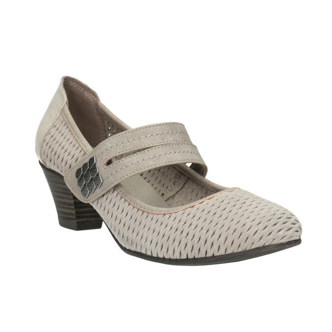 Leather pumps width H bata, gray , 623-2600 - 13