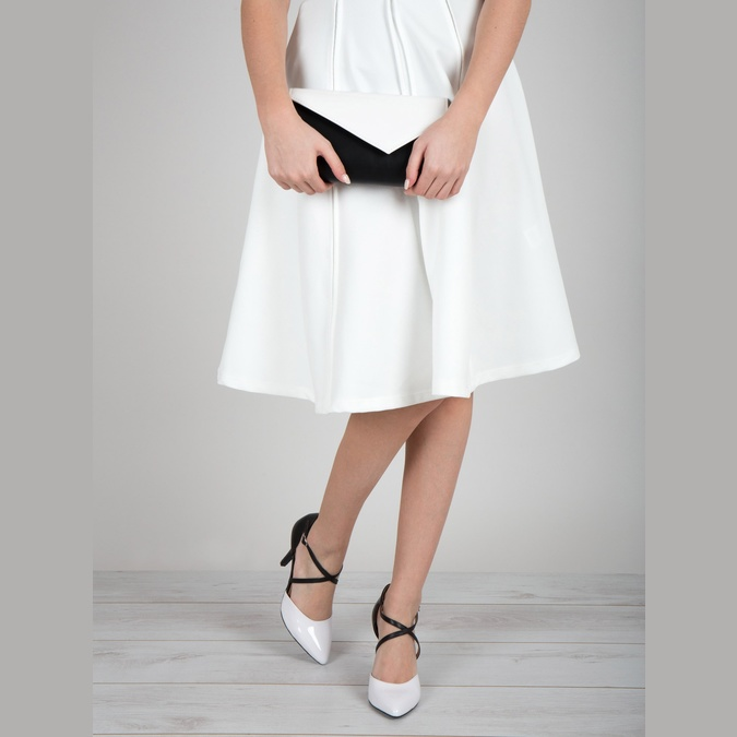 Leather pumps with straps across the instep insolia, white , 728-1641 - 18