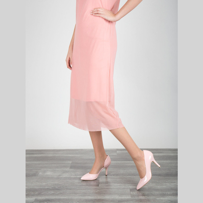 Pink leather pumps insolia, pink , 728-5635 - 18