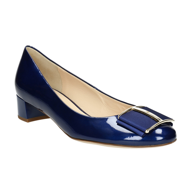 Leather pumps with bow hogl, blue , 628-9400 - 13