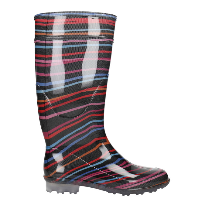 Children's wellington boots with stripes mini-b, black , 492-6112 - 15