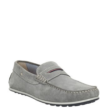 Men's brushed leather moccasins bata, gray , 853-2614 - 13