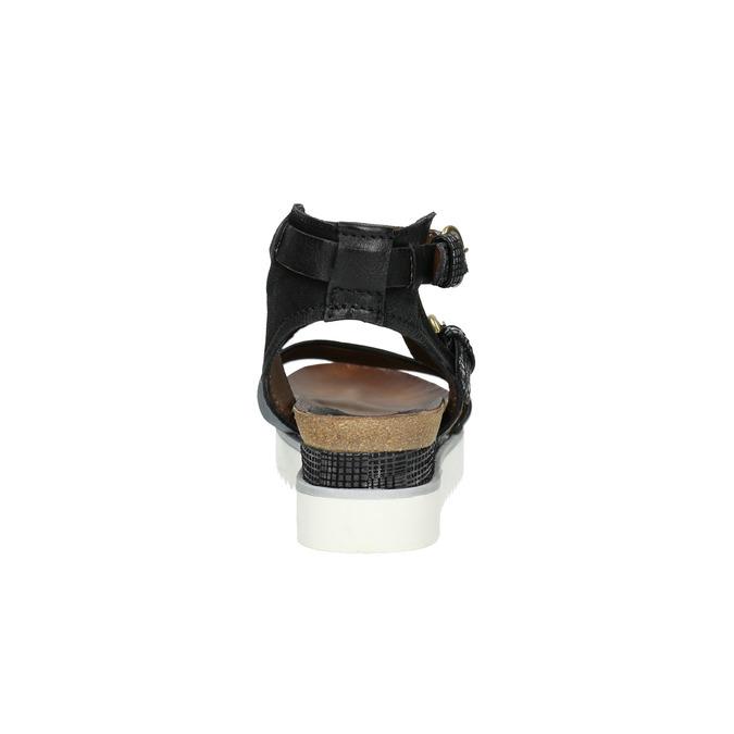 Ladies' leather flatform sandals bata, black , 666-6604 - 17