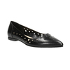 Pointed leather ballet pumps bata, black , 524-6604 - 13